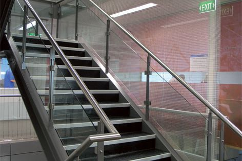 Transit wire mesh paired with the L5 Tension system becomes a striking internal balustrade.