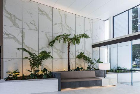 Maximum's matt Calacatta panels were used at the Moreton Bondi by Smart Design Studio and Mirvac. Photography: Willem Rethmeier.