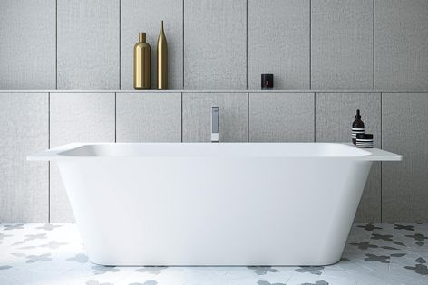 The Sunstone bath (top) and the Sunstone basin (bottom) from Caroma. The range of basins and a decadent freestanding bath offer a pared-back aesthetic and encourage the user to relax.