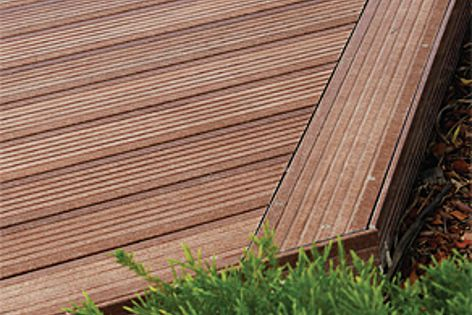 Diamond deck™ is 100% waterproof, meaning it can be installed at ground level (right).
