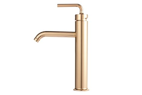 The Kohler Purist tap in a Rose Gold finish.