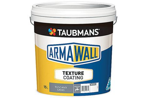 Taubmans Texture Armawall coating system is available in a range of colours and finishes, including 'Tuscany Sand.'
