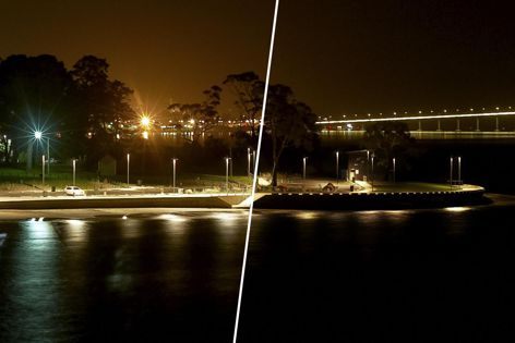 The WE-EF Control system allows LED lights to be easily controlled. Image shows site with and without WE-EF outdoor lighting.