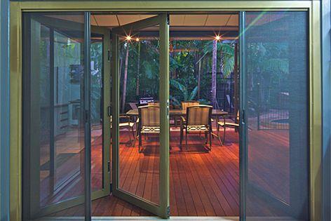 Alspec's Hawkesbury Plus multi-fold door integrates insect screening into aluminium folding doors.