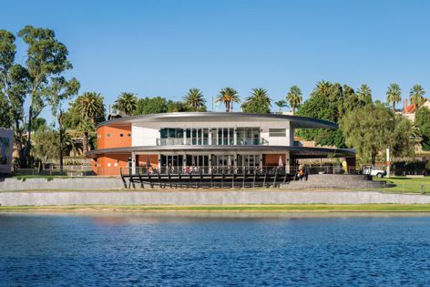 The redevelopment of the Mildura Rowing Club in Victoria features Cemintel Barestone prefinished panels. Architect: Nairn Architecture. Photography: Cody Ellis Photography.