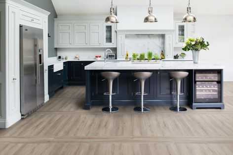 Polyflor's Expona Superplank vinyl tiles in 'Grey Elm.'