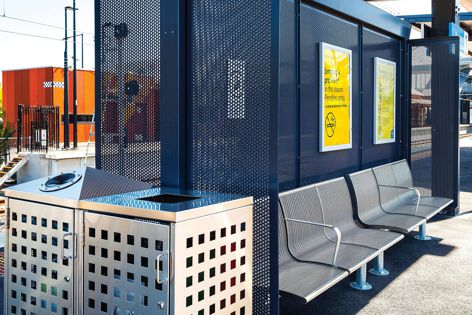 About 130 square metres of Stoddart Perforated metal panelling was recently installed along the southern wall of Melbourne's Ringwood Railway Station carpark.