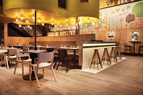 Havwoods flooring, used at this restaurant Giraffe in Westfield Stratford, London by Nelson Design.