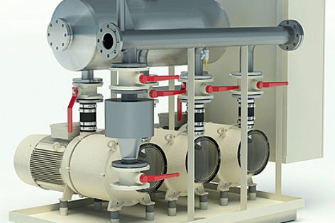 This vacuum pump station is suited to 7,500 flushes per hour or a large building of 13,500 people.