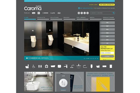 The website features a multi-field search function that enables users to search and filter by size, style and location, as well as unique category features, including basin shape and toilet suite set-out dimensions.
