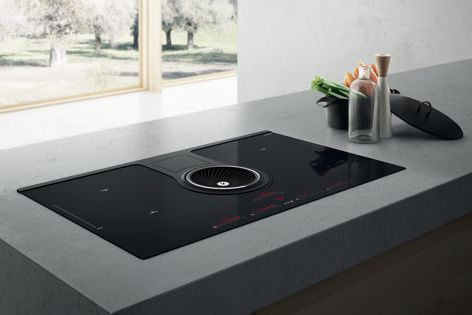 Elica's Nikola Tesla cooktop features a fully integrated extraction fan.