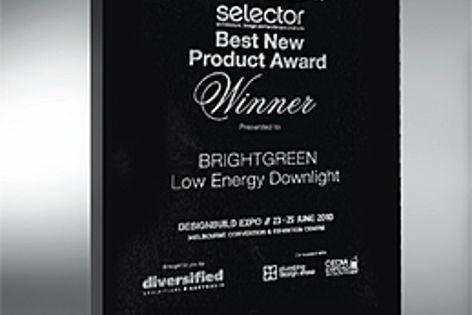 The Designbuild Selector New Product Award plaque.