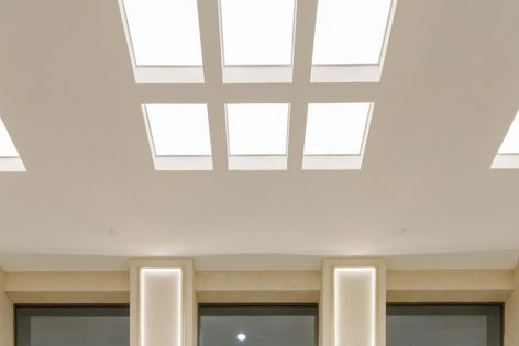 Despite high ceilings and a marble floor, the Ensemble system provides the foyer with outstanding reverberation control.