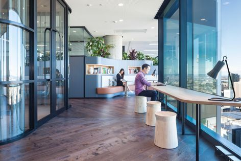 The SIG office in Barangaroo features Havwoods' Professional Oak Croydon flooring. Design: Gensler. Photography: Fretwell Photography.
