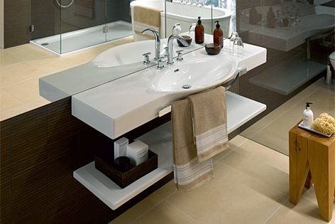 Extra storage can be created by installing an easy-to-clean ceramic tablet under the basin.