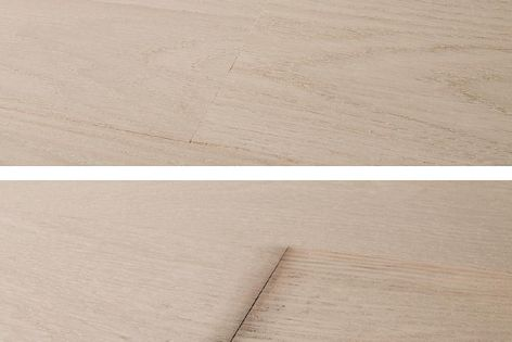 A comparison of timber flooring with Protect+ water-repellent technology (above) and without (below).
