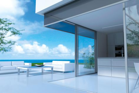 Panovista fabrics have a minimalist design and provide sun protection while maintaining a view to the outside.