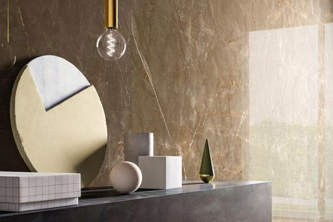 Maximum's Marmi porcelain panels are now available in Cristallo and Pietra Bronze (pictured).