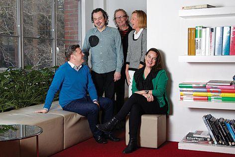 The 2014 jury (L–R): Architecture Media editorial director Cameron Bruhn, restaurateur Simon Denton, food writer and critic Michael Harden, designers Tina Engelen and Kirsti Simpson. Photograph: Cloe Smithett