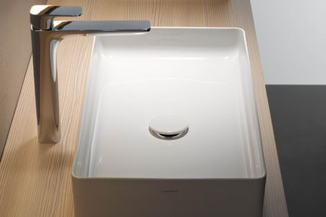 The square basin by Andreas Dimitriadis has a simple, slim structure.