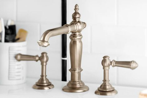Kohler's Artifacts tapware collection features detailed turnings and finials, elegant spouts and swing-lever handles.