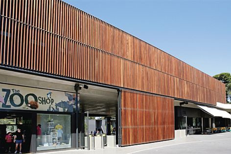 Woodform provided vertical timber blades for Adelaide Zoo's Hassell and Hindmarsh–designed facade.