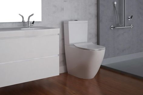 Wall-faced rimless close-coupled toilet by Enware