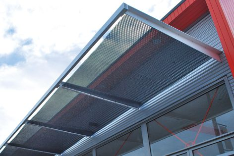 The Kaynemaile Building-Armour tension screen system was used recently on a new building by Our Space Architecture, constructed by Canam Construction.