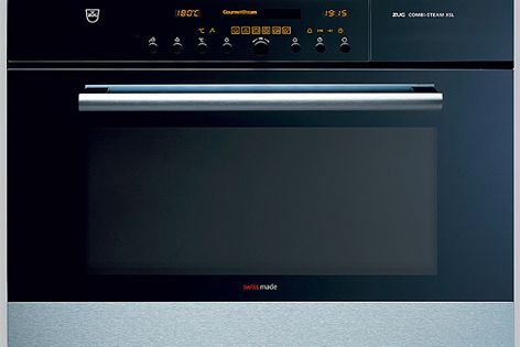 The Combi-Steam XSL oven by V-Zug incorporates pre-programmed recipes.