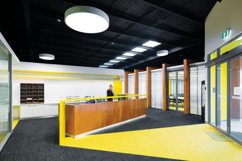 Ondaria circular luminaires were used at Central Coast Group Training in Tuggerah, NSW. Photograph: Kevin Chamberlain Photography
