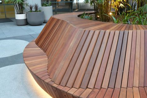 Sculptural backrests and LED strip lighting are two custom features of these bespoke outdoor seats by Mos Urban.