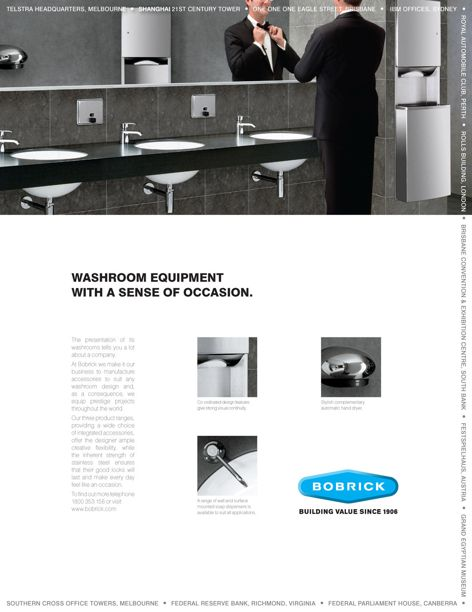 Washroom equipment by Bobrick