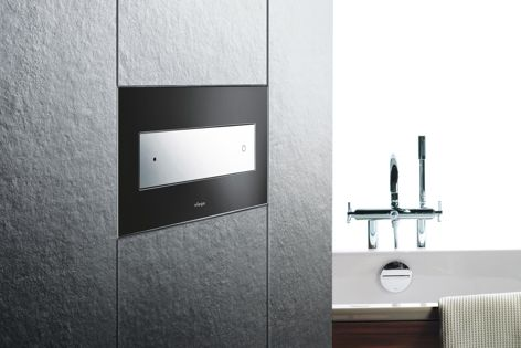 The Viega Style 12 Black Glass Push Plate is sleek, reliable and compact.