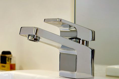 The Liscio range is available in a bright chrome finish or a matt-black version.