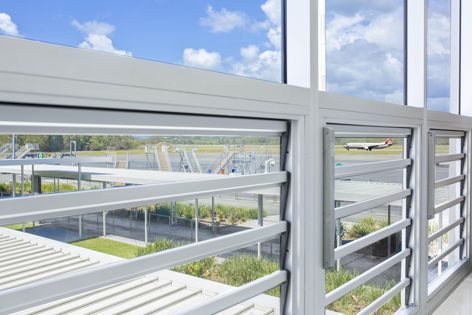 Safetyline Jalousie's louvre windows have been installed in high-noise buildings such as airports.