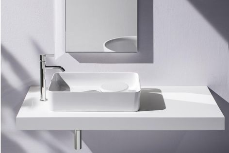 Laufen's Val collection features geometric lines and narrow edges.
