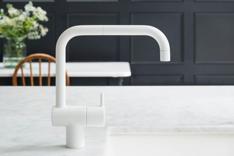 The KV1 one-handle mixer tap by Vola makes an elegant design statement and is available in a variety of colours and finishes.