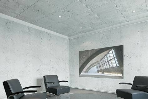 The Opus ceiling tiles combine the visual appearance of concrete with high levels of sound absorption.