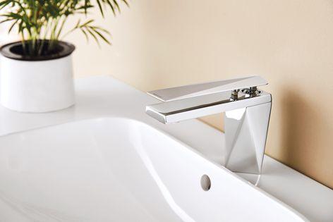 Bravat's Diamond high basin mixer features strong, geometric lines.