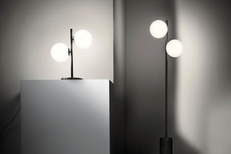 The Balla lamp stands are finished in black terrazzo and anthracite.
