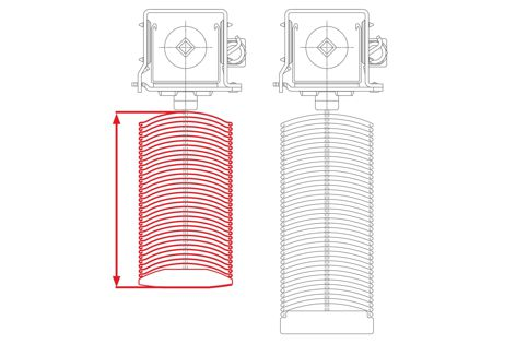 The new WAREMA 80 S external venetian blind profile (left) and the existing 80 profile (right).