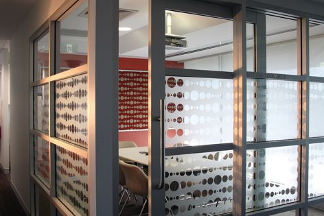An Indigenous design for Alcoa's Perth offices printed on HPWF's Dusted Crystal film.