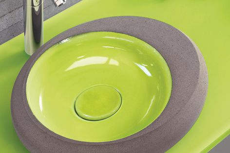Pyrolave enamel glazing makes it easy to create bathroom themes with matching shower trays, benchtops and tiles.