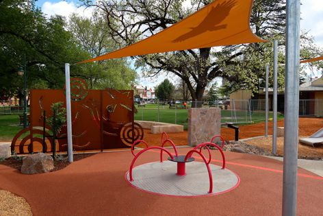 The art and imagery within the custom-made Castlemaine play space draw on themes of peace and reconciliation.