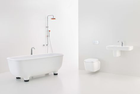 The Caroma Marc Newson bathroom collection features 21 pieces, including baths, showers and mixers.