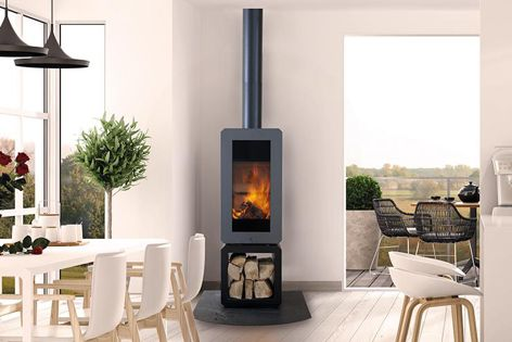 Real Flame's Andor is a freestanding wood heater with built-in log storage.