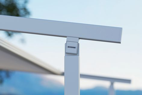 The Perea P20 Pergola Awning from Warema is coupled with the company's Secudrive® tensioning system for superior wind stability.
