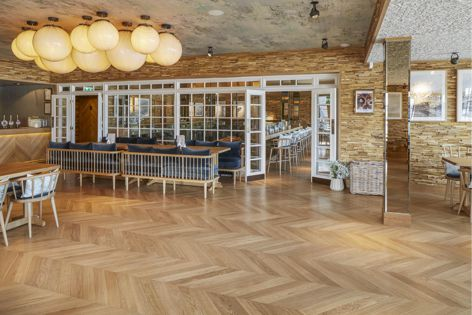 Havwoods' Pallido 45° Chevron engineered timber flooring from The Italian Collection.