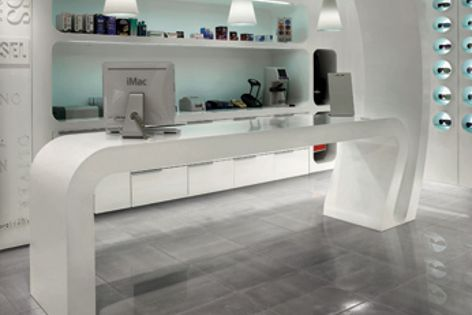 Granitoker tiles in Inox with a Lappato finish give this fragrance fitout a luxurious and contemporary feel.