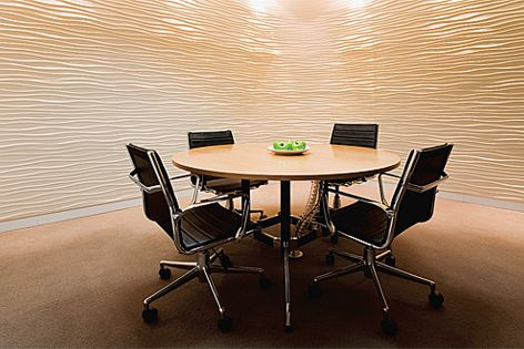 This office's meeting room is finished in Stonini Profilestone panels in the Rhythm profile.